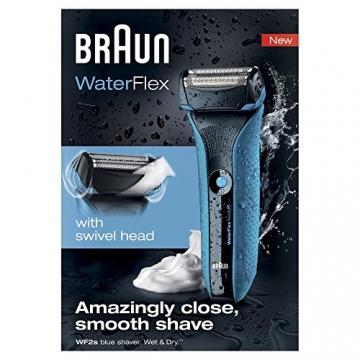 Braun WaterFlex WF2s Wet & Dry elektrischer Folienrasierer (flexibler Scherkopf), Blau - 2