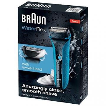 Braun WaterFlex WF2s Wet & Dry elektrischer Folienrasierer (flexibler Scherkopf), Blau - 3