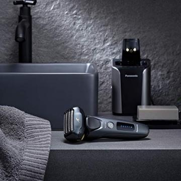 Panasonic ES-LV97-K803 Nass/Trocken-Rasierer, 5-fach-Scherkopf mit Linearmotor, inklusiv Reinigungs- und Ladestation, schwarz - 7